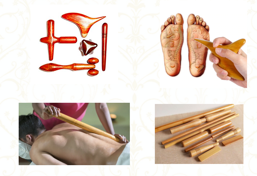različni leseni pripomočki za masažo