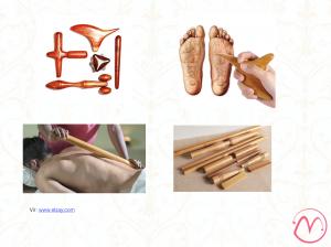 Različni leseni pripomočki za masažo telesa